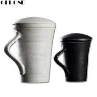 GFHGSD 350 미리리터 복고풍 필터 뚜껑 우유 잔 블랙 화이트 세라믹 커피 홈 도자기 창조적 차 컵 좋은