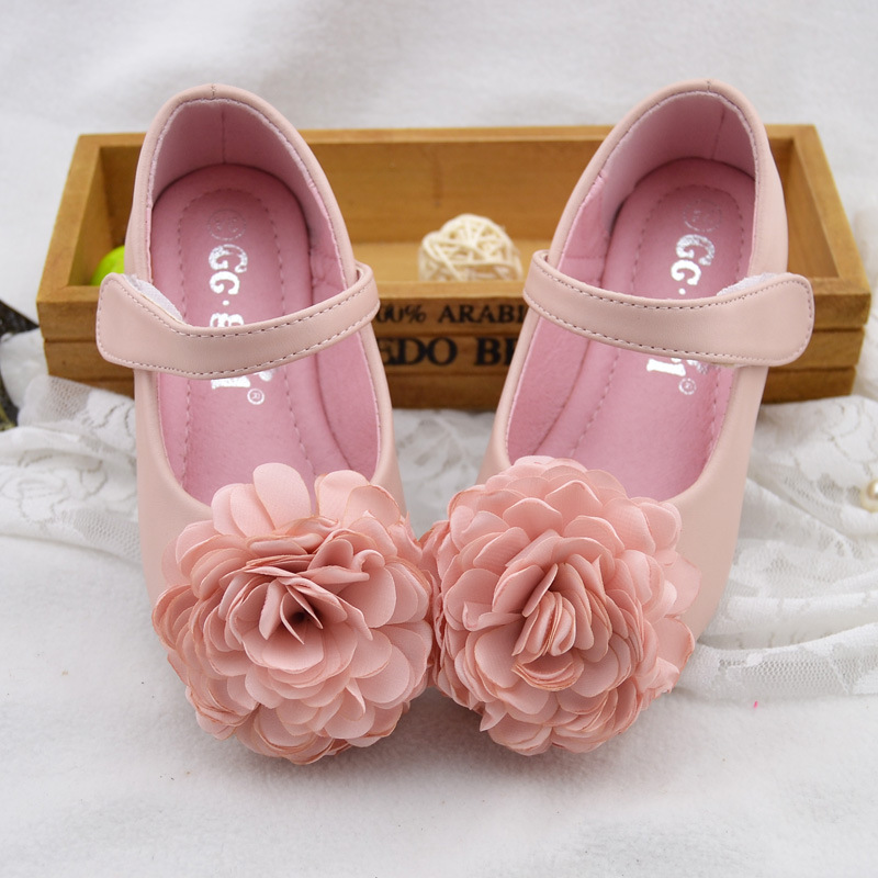 Spring New Kids Shoes Girls Shoes Beautiful Flower Princess Shoes Kids Fashion Comfortable Pu Leather Children Shoes Girls Flats
