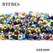 BTFBES 6mm Faceted Austrian Crystal 50pcs Plated Color Football Loose Beads For Jewelry Bracelet Earring Making DIY Accessories