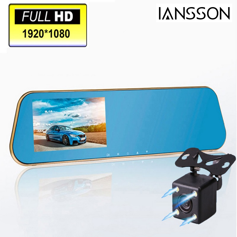 2016 New 1080P Car Blue Rearview Mirror Camera Dvr Full HD Digital Video Recorder With Two Cameras Auto Dash Cam Black Box