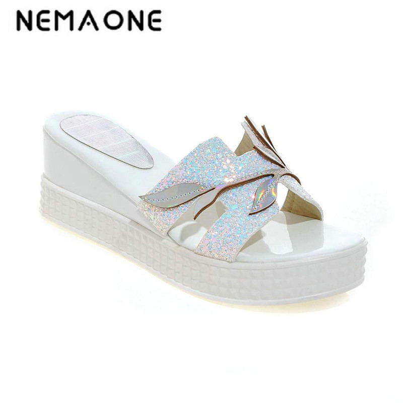 Women Wedges Slippers Sandals 2019 Summer Brand Casual Women Platform Slipper Shoes For Ladies Slides Women Shoes lanshulan bling glitters slippers 2017 summer flip flops platform shoes woman creepers slip on flats casual wedges gold