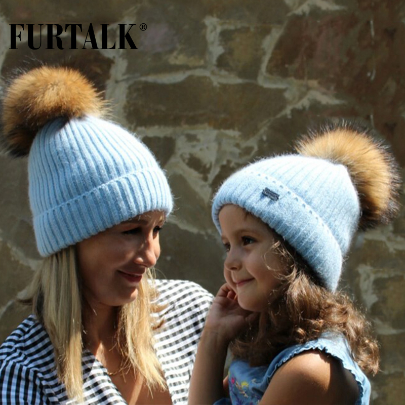 FURTALK winter rabbit fur pom pom hats for women warm knit   skullies   hat   beanie   for girls