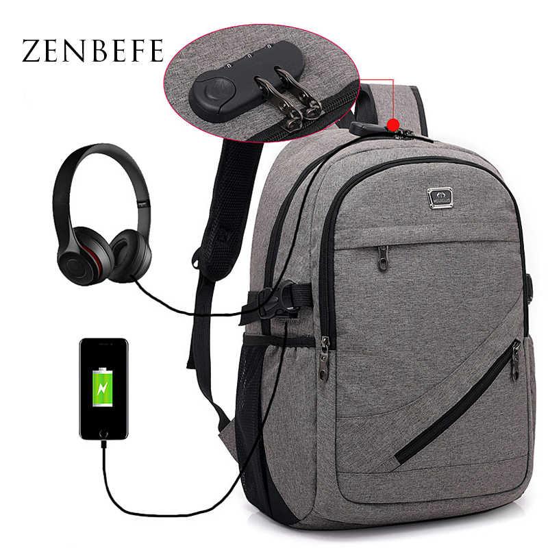 ZENBEFE pria Kapasitas Besar Ransel Sandi Kunci Anti-pencurian Tas USB Pengisian Laptop Tas Travel Ransel Sekolah Rucksack