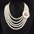 African Charm Multi layers Charm Beads Necklaces For Women Fashion Jewelry Big Imitation Pearl Flower Statement Necklace