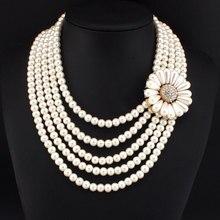 Africano Granos Del Encanto Del Encanto de Múltiples capas Collares Para Las Mujeres de Joyería de Moda Grandes Flores de Perlas de Imitación Collar de la Declaración