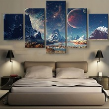 5 Piece Mountains And Space Planet Snow Lake Galaxy Cuadros Landscape Canvas Wall Art Home Decor For Living Room Painting