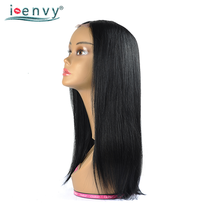 IEnvy Jet Black Brazilian Straight Human Hair Wigs Long U Part Wigs For Women 150% Density Colored 1 Middle Part Wigs Non Remy
