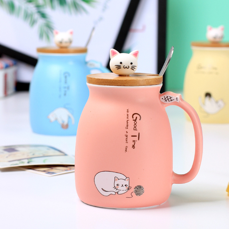 Cute Ceramic Cat Mug With Lid and Spoon