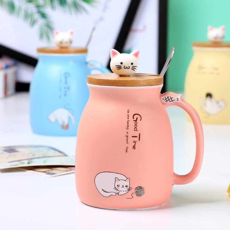 HTB1LEhvG1uSBuNjSsplq6ze8pXaR 450ml Cartoon Ceramics Cat Mug With Lid and Spoon Coffee Milk Tea Mugs Breakfast Cup Drinkware Novelty Gifts