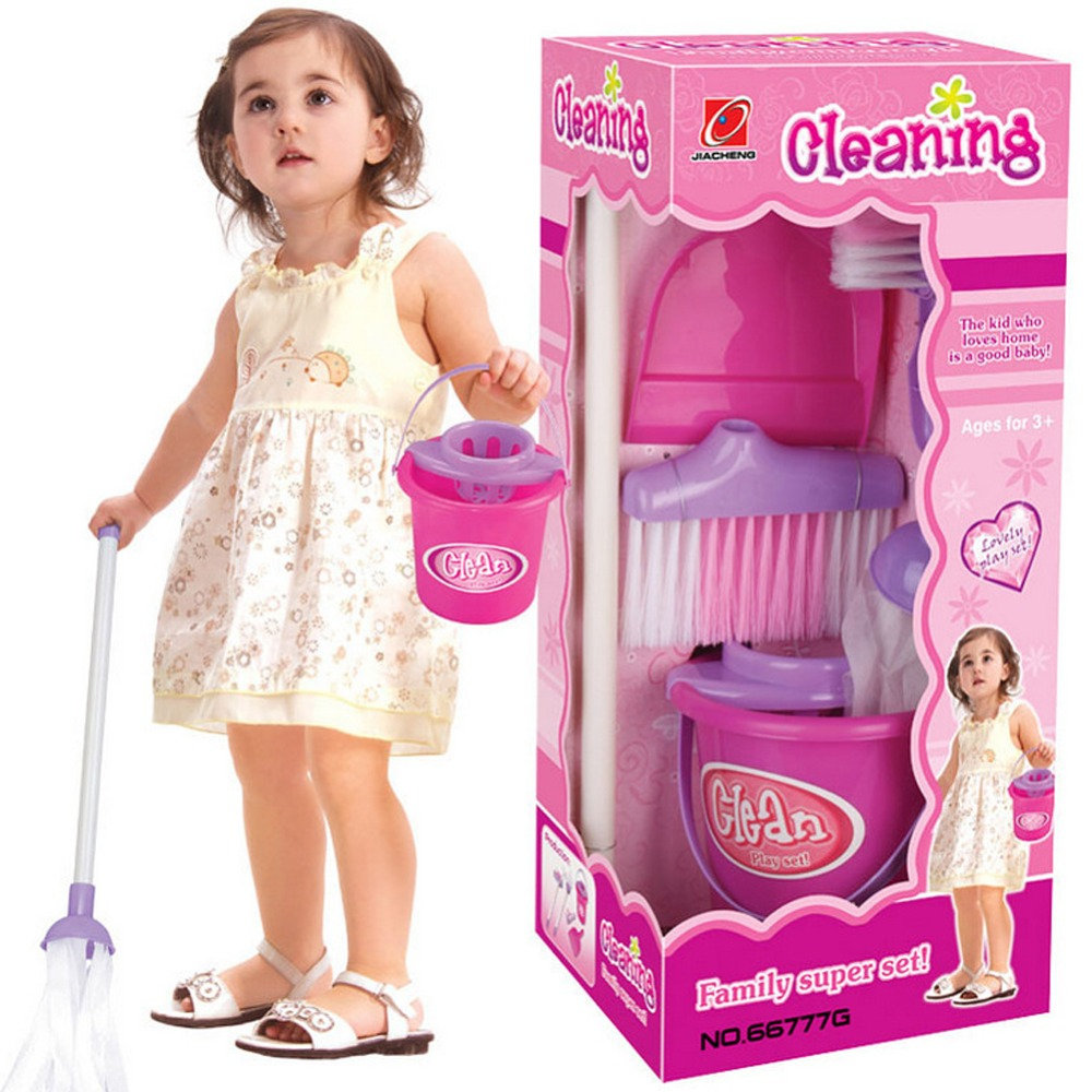 Fun Cleaning Play Set Girls Housekeeping Pink Broom/<font><b>Mop</b></font>/Bucket/Dustpan/Cleaning Brush Sweep Pretend Play Toy Kit