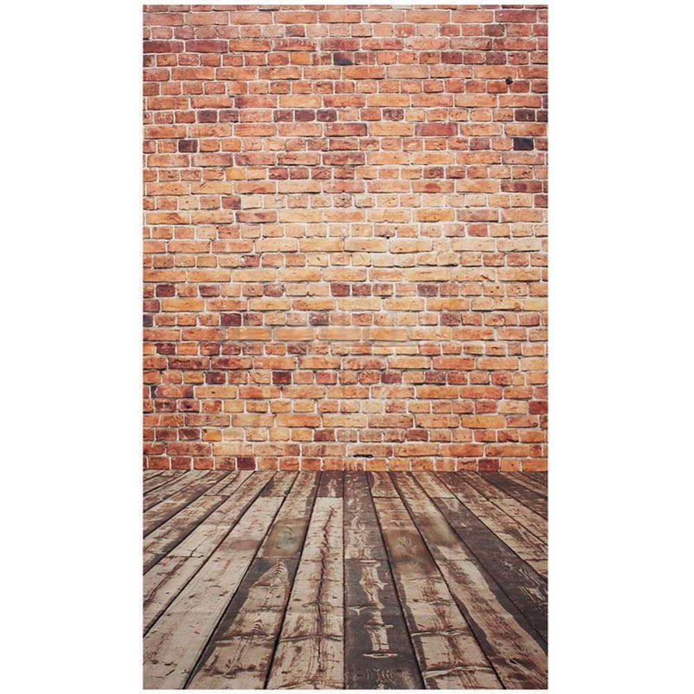 3x5FT Brick Wall Photography Backdrop Photo Wooden Floor Background Studio Photo Backgrounds for Baby Photography Parties Bars
