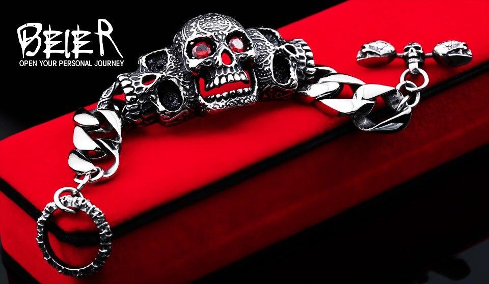 BEIER 316lStainless steelCool Men's Steel High Quality Red Eye Stone Biker Man Skull charms Bracelet Chain Factory Price BC8-021 3