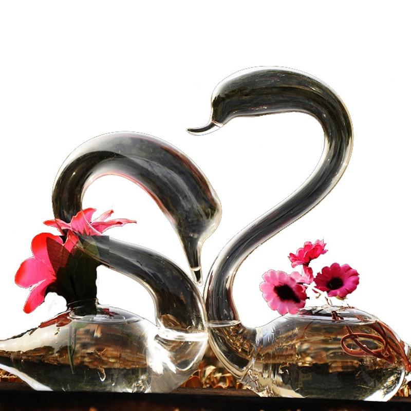 OnnPnnQ Swan Glass Floor váza dekoráció Home Glass Terrarium Vase esküvői dekoráció Virág vázák Dekoratív lakások
