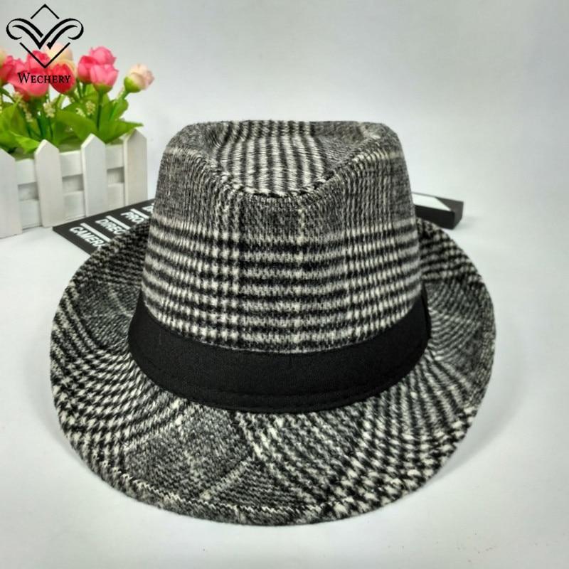 Wechery Hat for Men Plaids Fedora Fashion Casual Jazz Hats Black Grey Beige Brim Caps Summer Spring Outdoor Fedoras