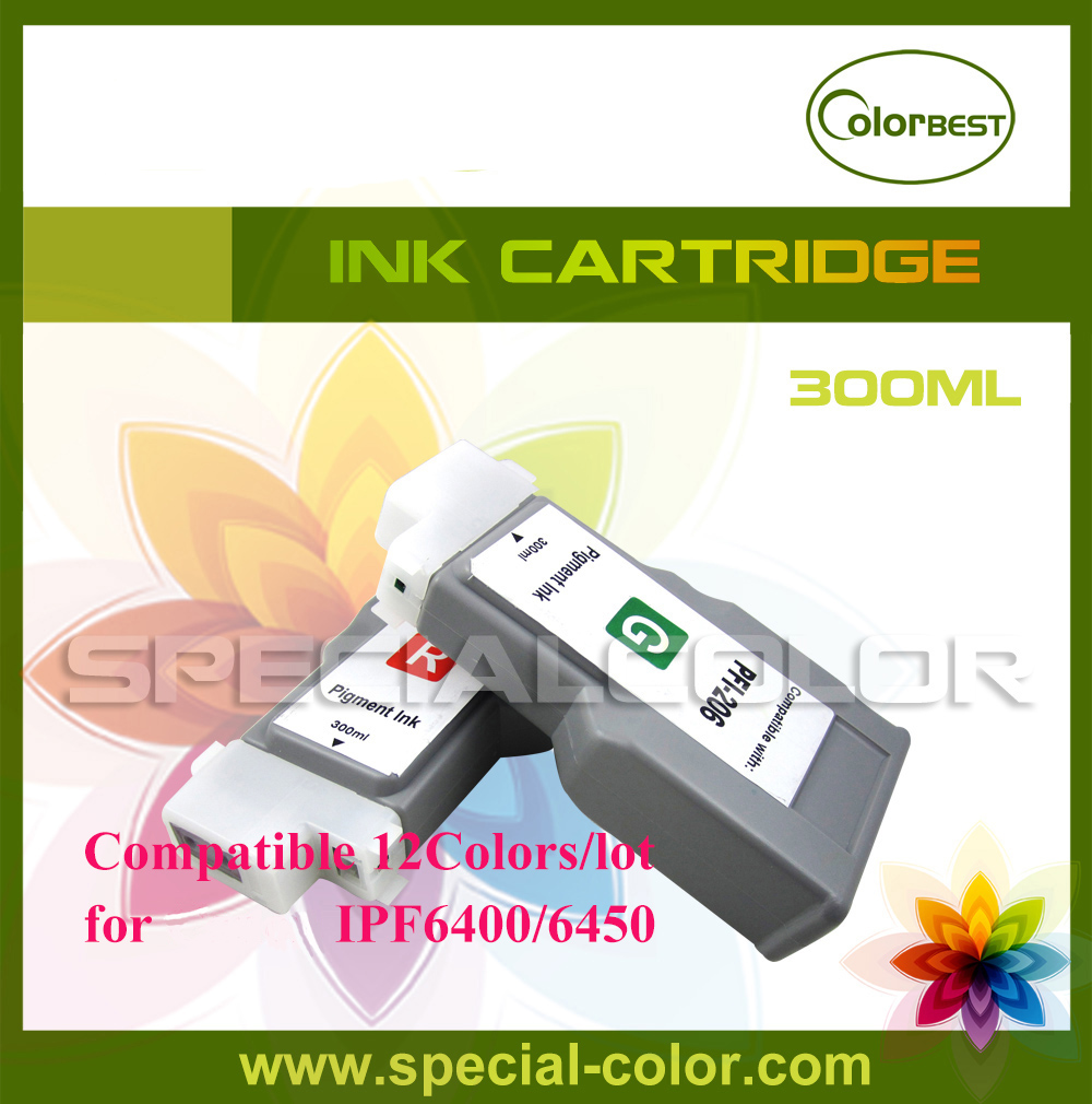 12Colors/Set High Quality 300ml Pigment Ink Cartridge for IPF6400/6450 without pigment chip PFI-206 Lucia Ink roland eco solvent full ink cartridge for xj740 640 xc540 with chip 440ml 6 colors cmyk lc lm