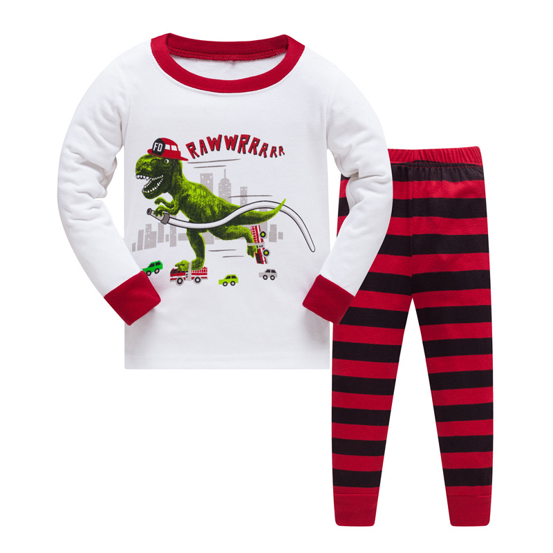 3-8 years children christmas dinosaur pajamas sets kids sleepwear boys stripes pyjamas baby animal pijamas