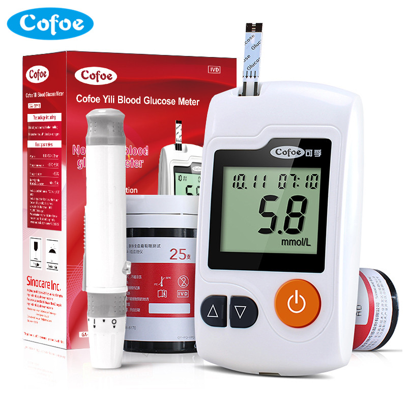 Cofoe Yili Blood Glucose Meter with 50/100pcs Test Strips and Lancets needles for Diabetic Medical  Household Monitor Glucometer high quantity medicine detection type blood and marrow test slides