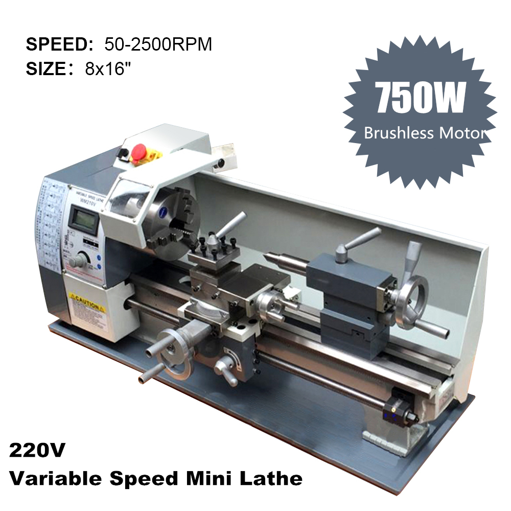 750W 220V Brushless Motor Variable Speed Mini Lathe Machine Metal Lathe for Metalworking Stainless Steel Processing
