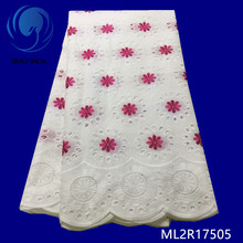 Красивая хлопковая кружевная вуаль, Африканская Хлопковая кружевная ткань, 5 ярдов, новинка, кружевная ткань ML2R175