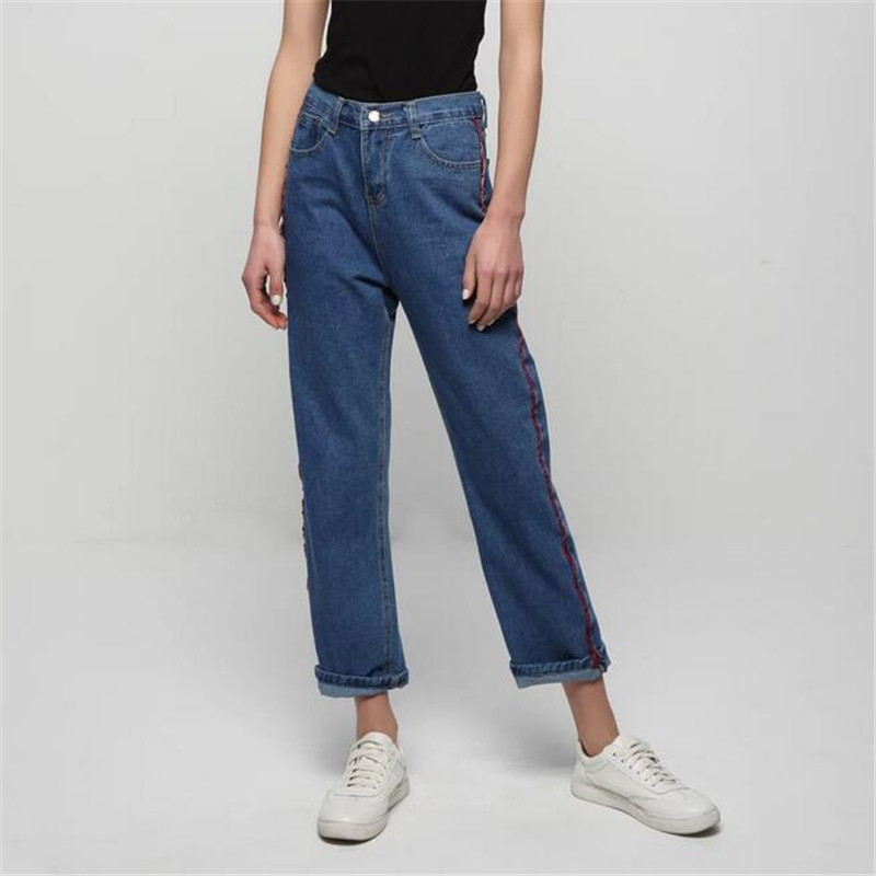 ФОТО 2017 Harajuku Simple Red Stripe Women Jeans Denim Straight Pants High Waist Street Loose Casual Full Length Trousers Female L068
