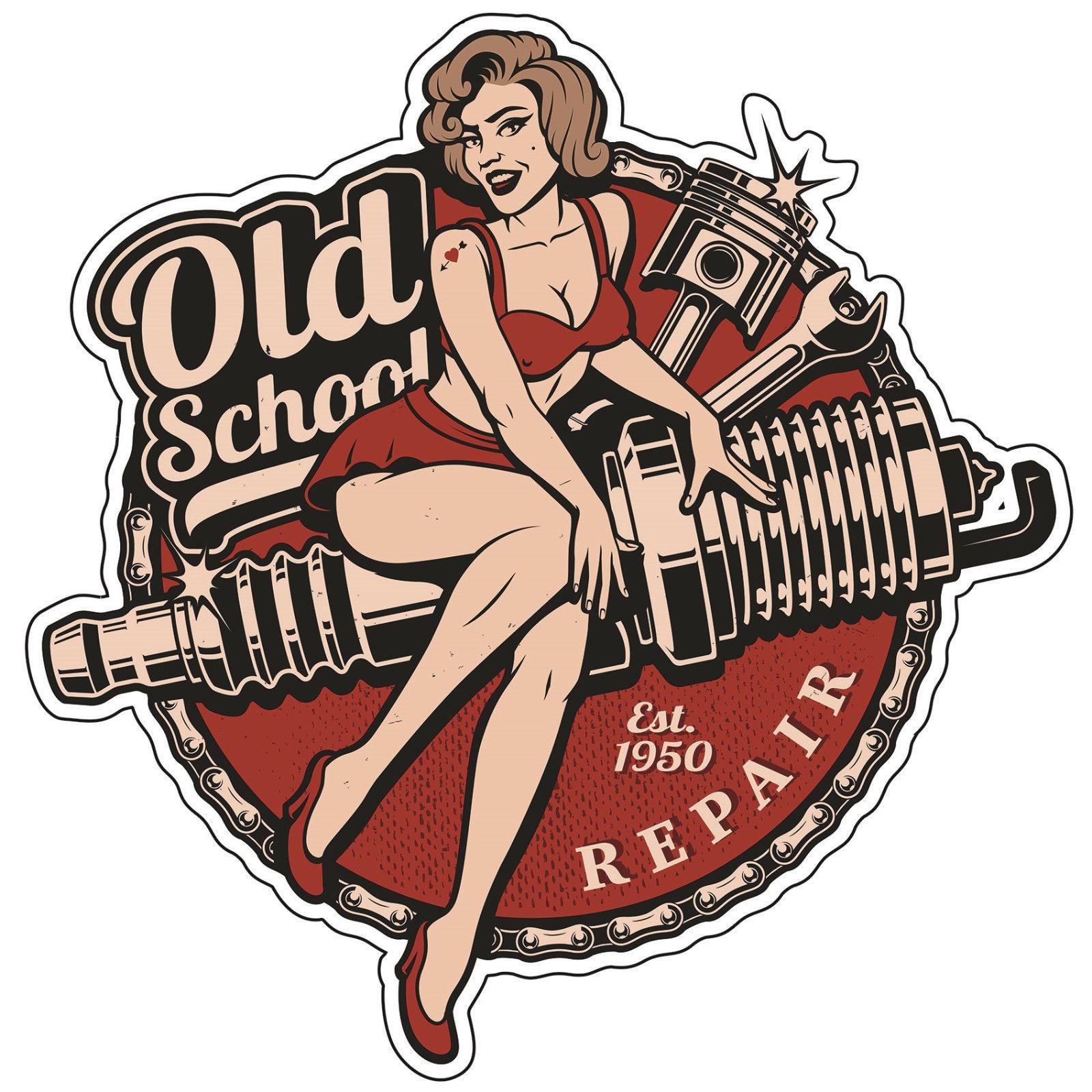 Pin Up Repair Girl Old School Sticker Bobber Cafe Racer Retro #22
