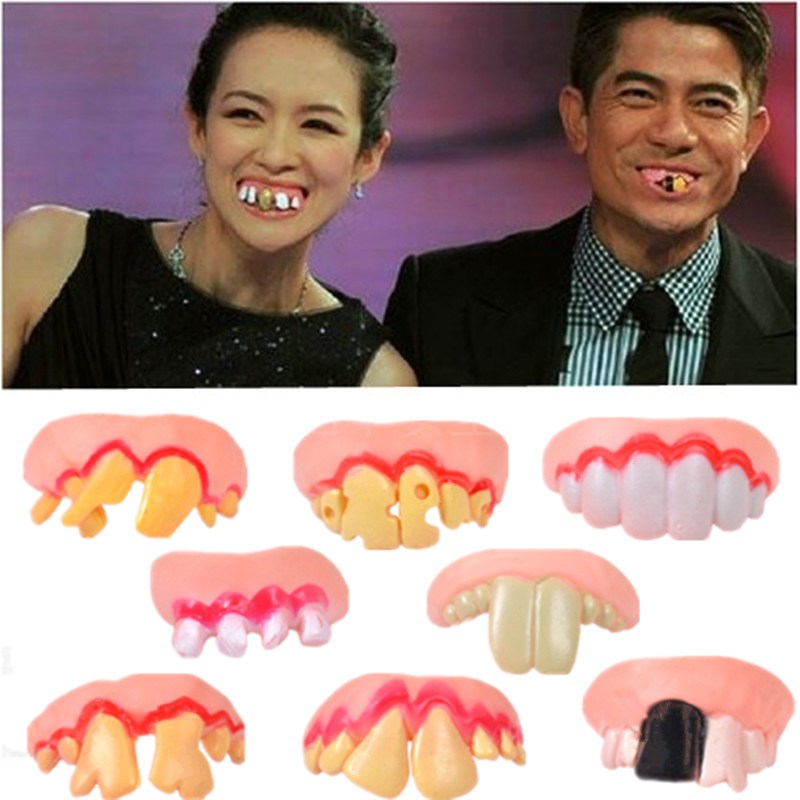 Prank Startle Tooth Halloween Scary Crooked Monster Teeth Novelty Toy Children Adult Horror Teeth Practical Jokes Toys