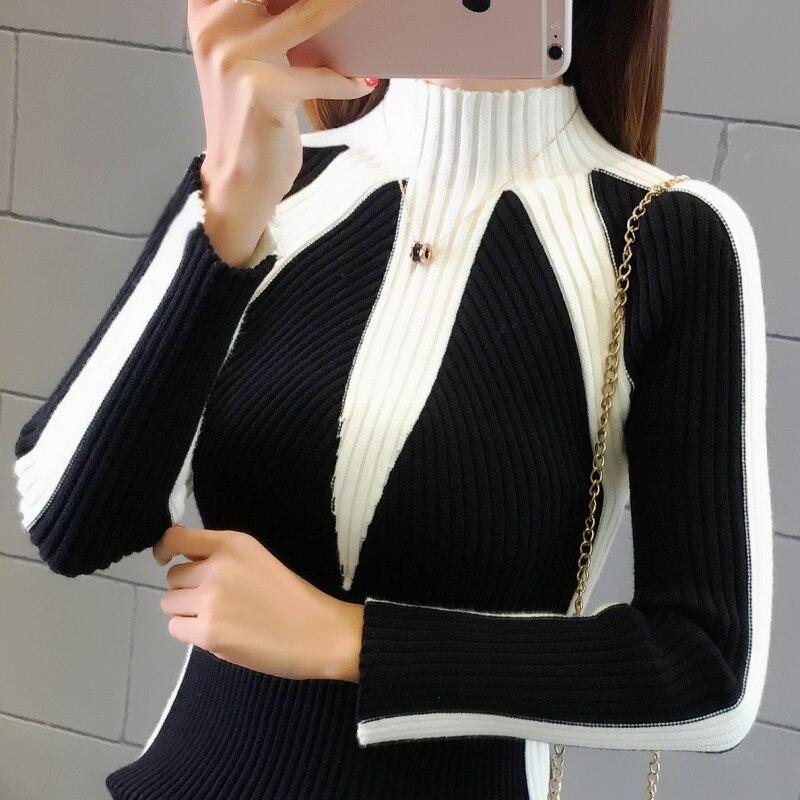 Suéteres de invierno las mujeres 2019 de moda sudaderas coreano Color tejer jerseys gruesos jerseys suéter de Navidad para mujer
