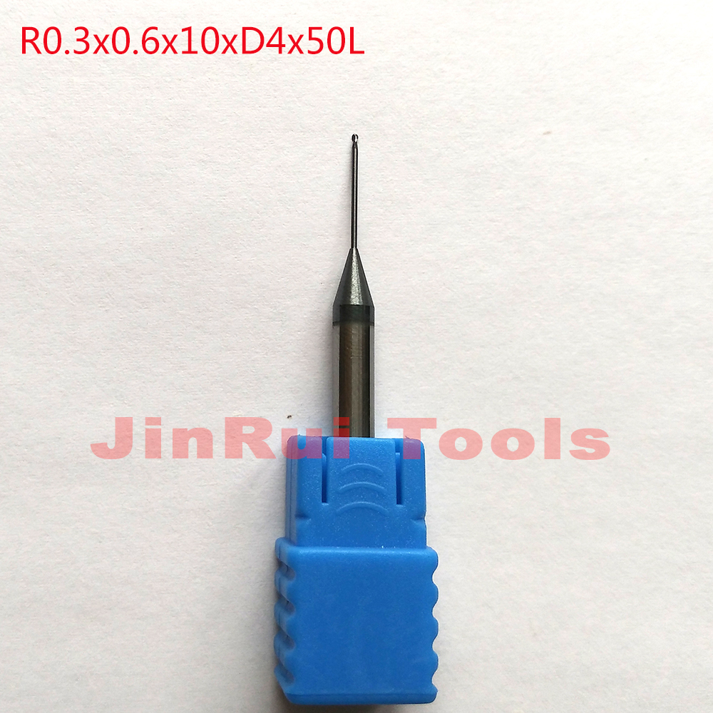 1pc R0.3*0.6*10*D4*50L 0.6mm 2Flutes HRC55 solid carbide Long neck Ball Nose End Mills CNC groove milling cutters 1pc 6mm 10d r0 75 50l 2f hrc55 angle 10 solid carbide tapere ball nose end mills milling cutters wood cnc engraving router bits