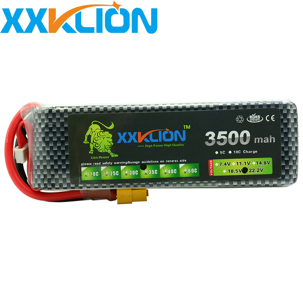 XXKLION RC Lipo Battery pack 22.2v 3500mAh 35C 40C 6S RC Aircraft Helicopter Car boat Drones Quadcopter Li Polymer Batteria
