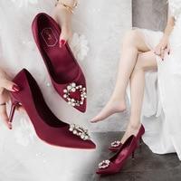 3b8c630cca 2019 New Wedding Shoes Female Red Satin Rhinestone Bridesmaid Shoes Pointed  High Heel Stiletto Single Shoes. 2019 Novos Sapatos de Casamento ...