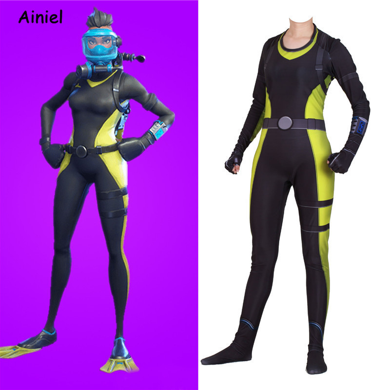 Game Fortnight Reef Ranger Diving Suit Cosplay Costume Zentai Bodysuit Jumpsuits Halloween Party Costumes for Adult Women Kids