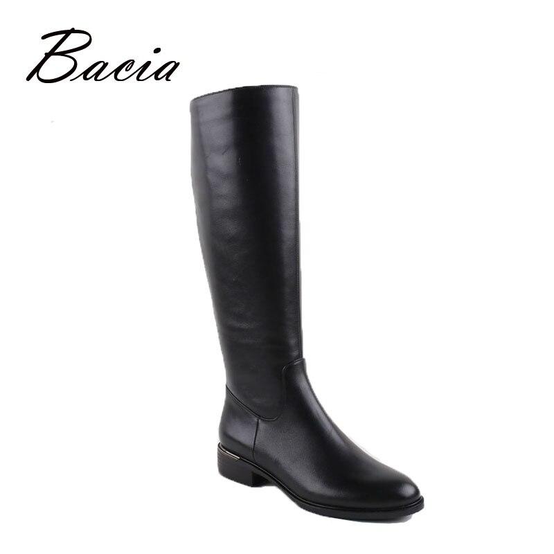 Bacia/Русский Оригинальный дизайн Сапоги и ботинки для девочек до колена на платформе Пояса из натуральной кожи качество Обувь ручной работы ...