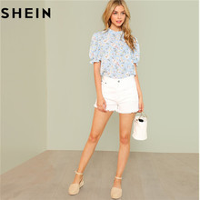 SHEIN Office Lady Tops Ruffle Floral Blue Blouses 2018 New Women Summer Casual Short Puff Sleeve Frill Trim Calico Print Blouse