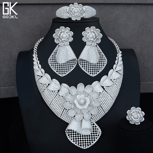 Image 2 - GODKI Luxe Zonnebloem Afrikaanse Lariat Sieraden Sets Voor Vrouwen Wedding Kubieke Zirkoon Crystal CZ DUBAI Zilveren Bruids Sieraden Sets