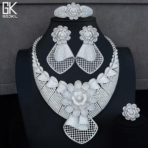 Image 2 - GODKI Luxury Sunflower African Lariat Jewelry Sets For Women Wedding Cubic Zircon Crystal CZ DUBAI Silver Bridal Jewelry Sets