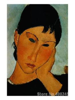 Portrait Oil Painting Female Head from Elvira Resting at a Table by Amedeo Modigliani Room decor Hand painted High quality