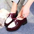 Tamaño 32-43 de Primavera/Otoño de zapatos de Las Señoras Atan Para Arriba Del Dedo Del Pie Redondo Med Bomba talón Color Mezclado PU del cuero del Ocio Zapatos de Las Mujeres de Color rojo