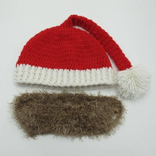 743fdd94e95bd Novelty Beard Santa Claus Beanies Men s Women s Funny Christmas Crocheted  Hats Xmas Party Mask Handmade Winter