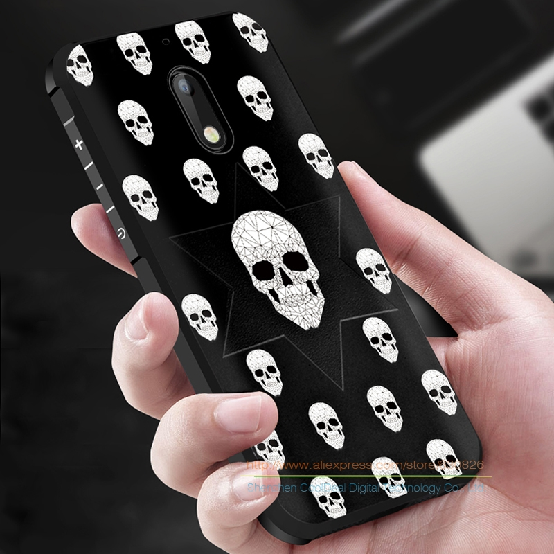 Totally Protection 3D Relief Back Cover Case for Nokia 6 Luxury Soft Silicone Anti-Knock Cover for Nokia6 5.5