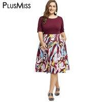 PlusMiss Plus Size 8XL 7XL Floral Print Casual Vintage Retro 50s Dress Women Floral Print Fit