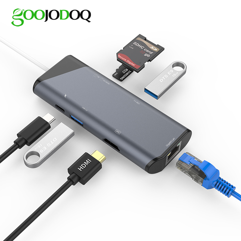 GOOJODOQ USB Type C HUB HDMI Ethernet Adapter for MacBook Laptop USB C to Gigabit Ethernet / HDMI / SD TF Card Reader USB-C Hub usb c hub 8 in 1 usb c adapter with gigabit ethernet type c power delivery hdmi output sd tf card reader 2 usb ports