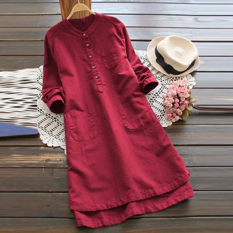 Женское платье-рубашка ZANZEA, Осеннее Повседневное платье-рубашка с длинным рукавом и воротником-стойкой, мини-платье для работы, модель 2020, 5XL