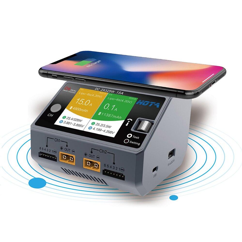 Lipo Batterie Chargeur D6 Double Canal Chargeur Intelligent 2 * DC325W 15A pour Lipo NiMH Batterie Téléphone Sans Fil De Charge Nouveau RC Pièces