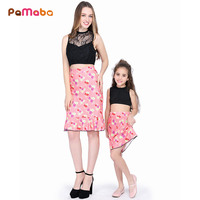 PaMaBa 2PCS Fashion Mom Daughter S Clothes Set Fashion Lace Tops And Floral Print Skirt Bare