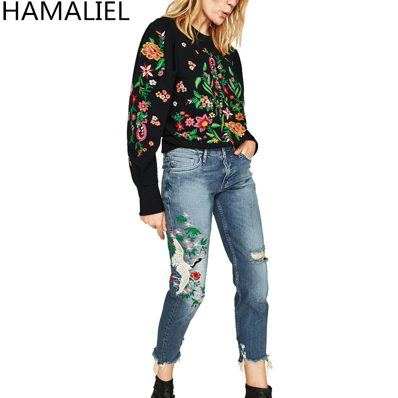 Brand Summer Women Demin 2017 Runway Europe Style Embroidery Cranes Floral Pattern Ripped Skinny Pockets Calf