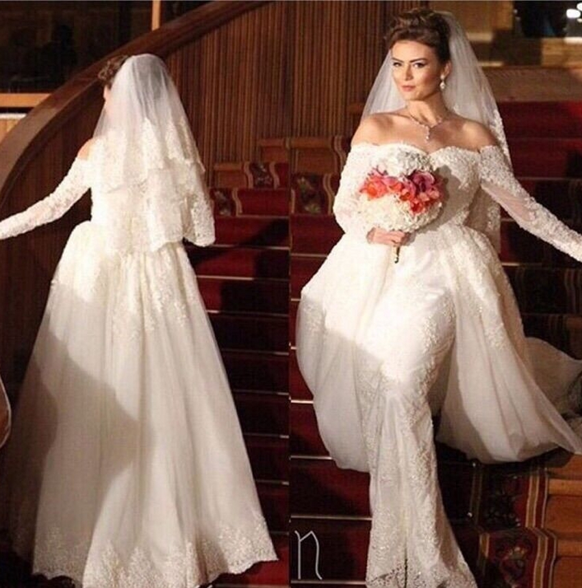Long Sleeve Mermaid Detachable Train Wedding Dress Removable Skirt Off The Shoulder 2 Two Piece Gowns Custom Made In Dresses From Weddings