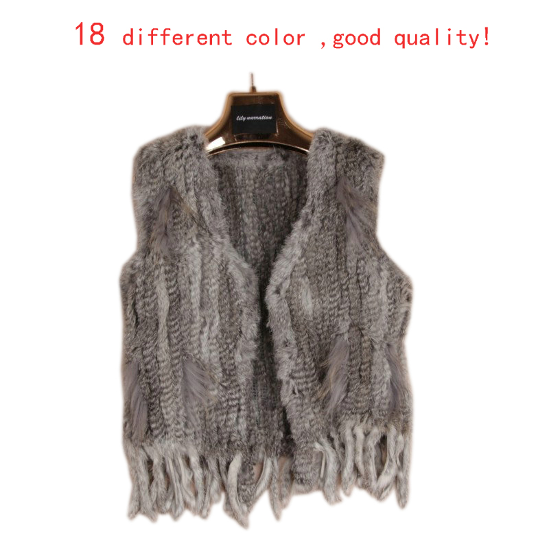 Harppihop*Knit knitted handmade Rabbit fur vest gilet sleeveless 