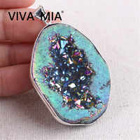 Druzy Pendant Druza Gems Agates Geode Necklace Silver Gold Druzy Quartz Stone Natural Stone Pendant Plating Crystal Pendant