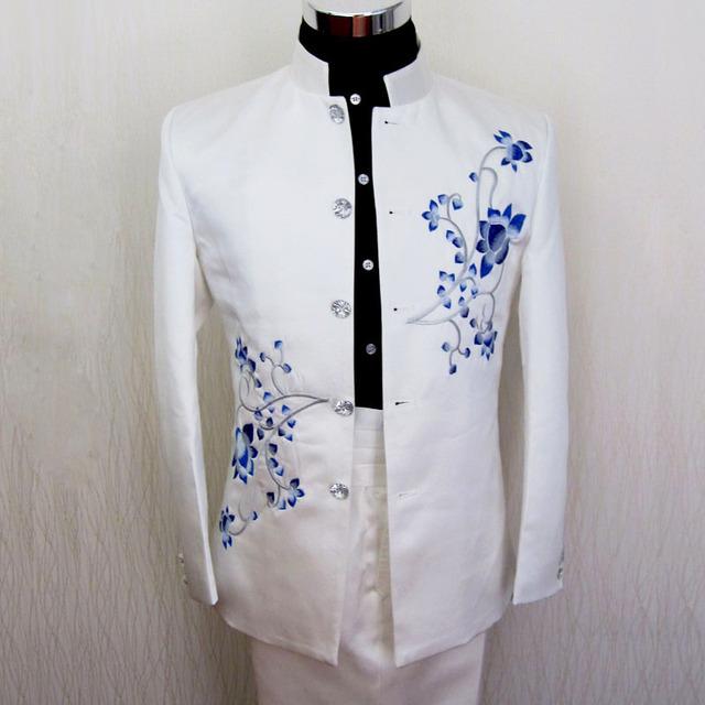 Traje varón vestido formal traje de porcelana azul y blanca del collar del soporte chino juego de la espiga para hombre etapa de ropa mostrar vestido