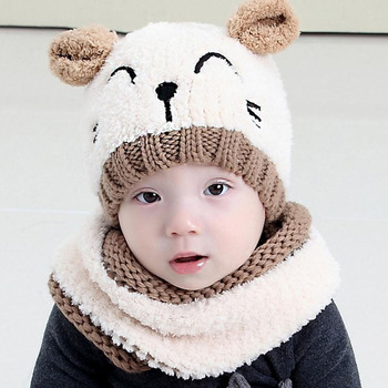 2016 Korean Two Ears Little Bear Kids Boys Knitted Hats Winter 2 Pcs Fur Baby Girl Scarf Hat Set Age For 6 Months-3 Years MZ4161